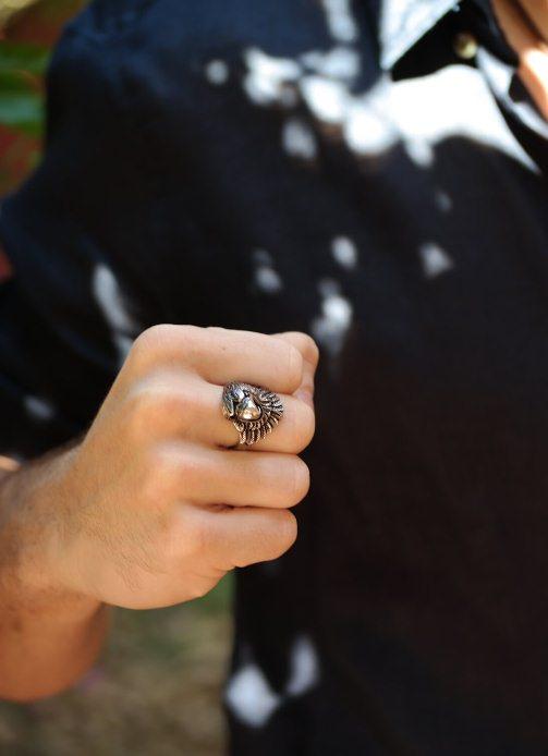 Anel masculino, anel masculino Eagle, anel de aço