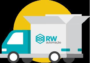 Caminhão em desenho com logo da RW Automação