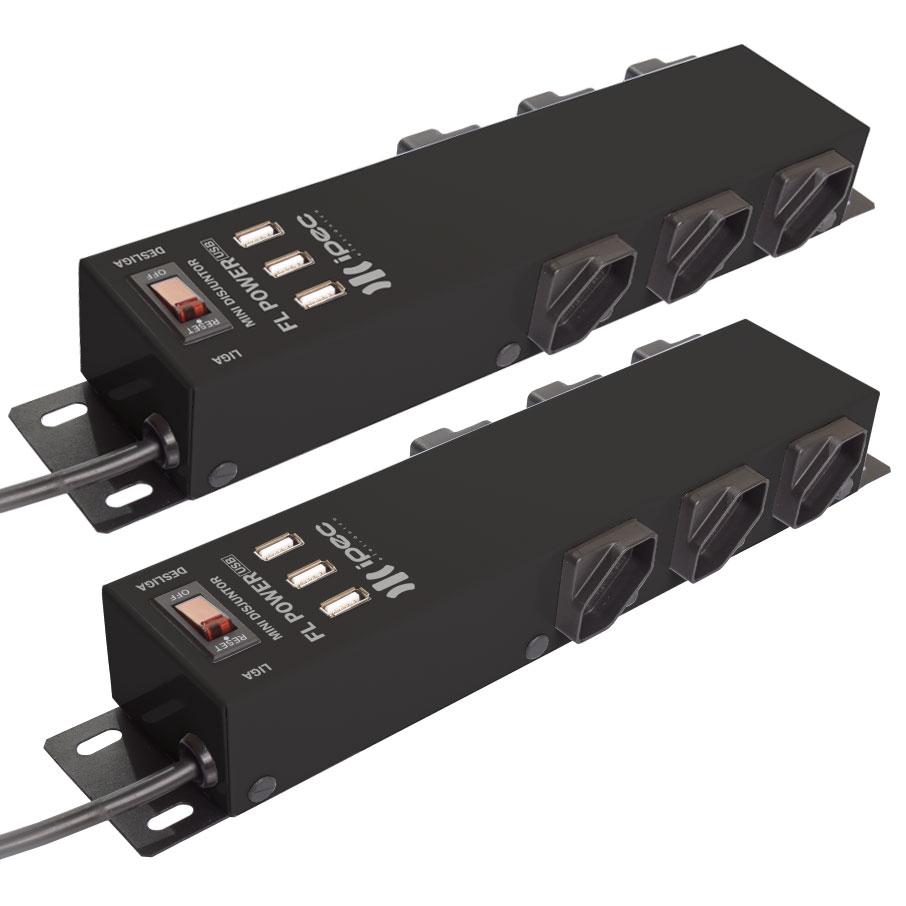 Kit com 2 Filtros de Linha 6 Tomadas FL Power Com Entrada USB Preto Ipec