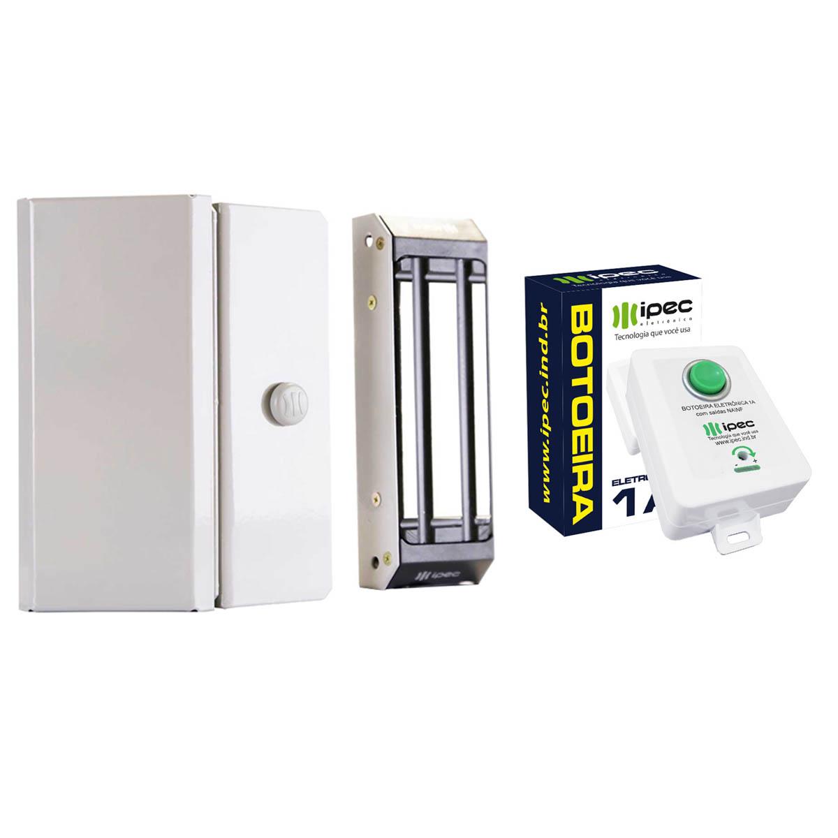 Kit Fechadura Magnética para Porta Comum com Botoeira Eletrônica
