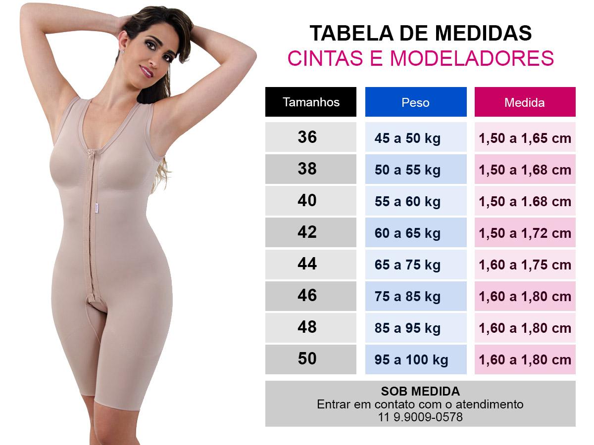 Tabela de medida cintas e modeladores