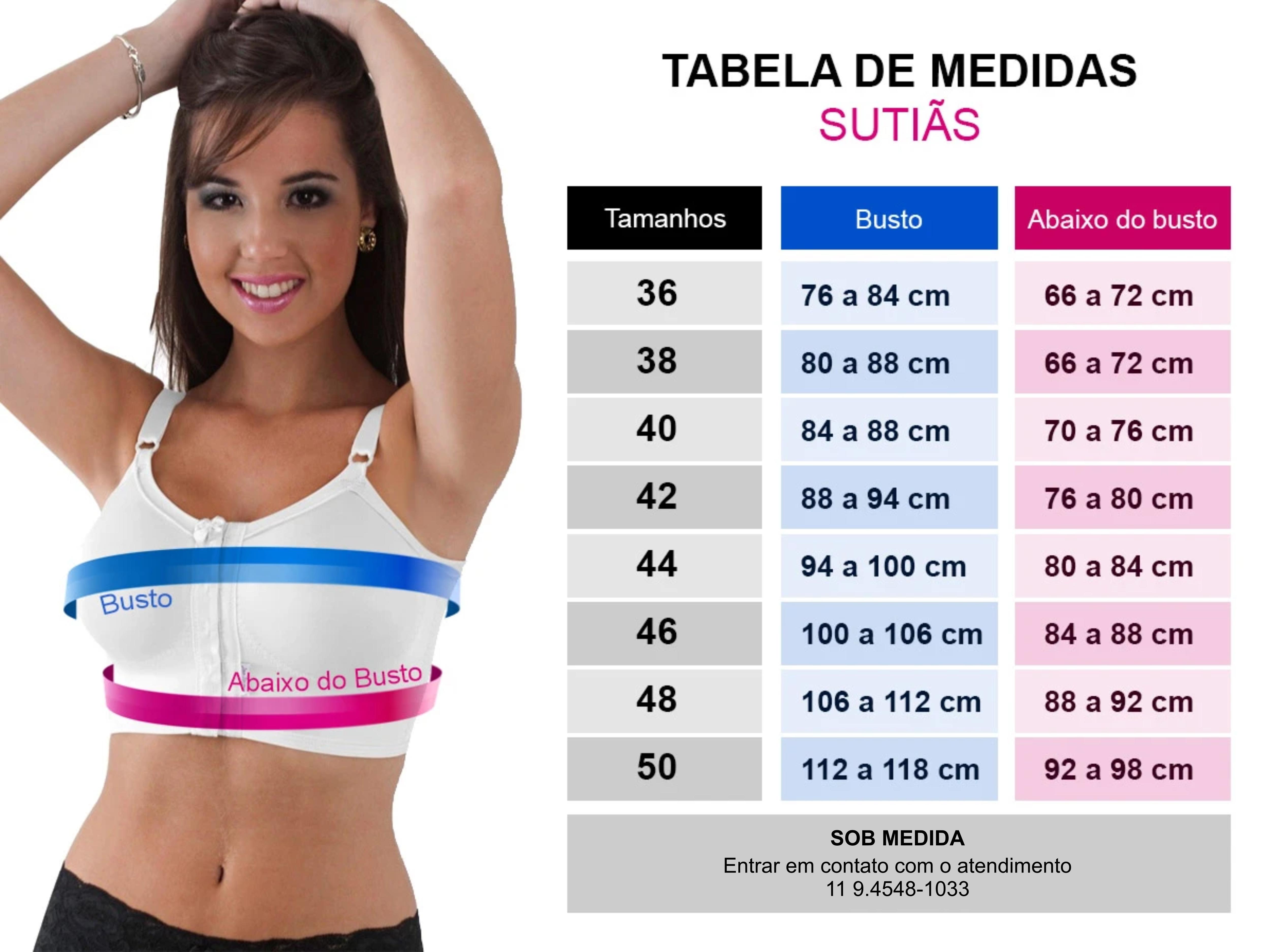 Tabela de medida cintas