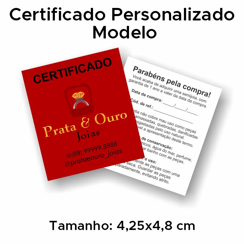 Certificado de Garantia Personalizado