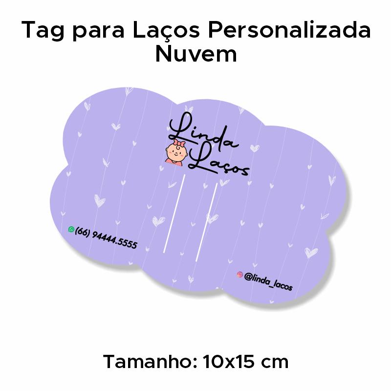Tag para Laços Personalizada Nuvem