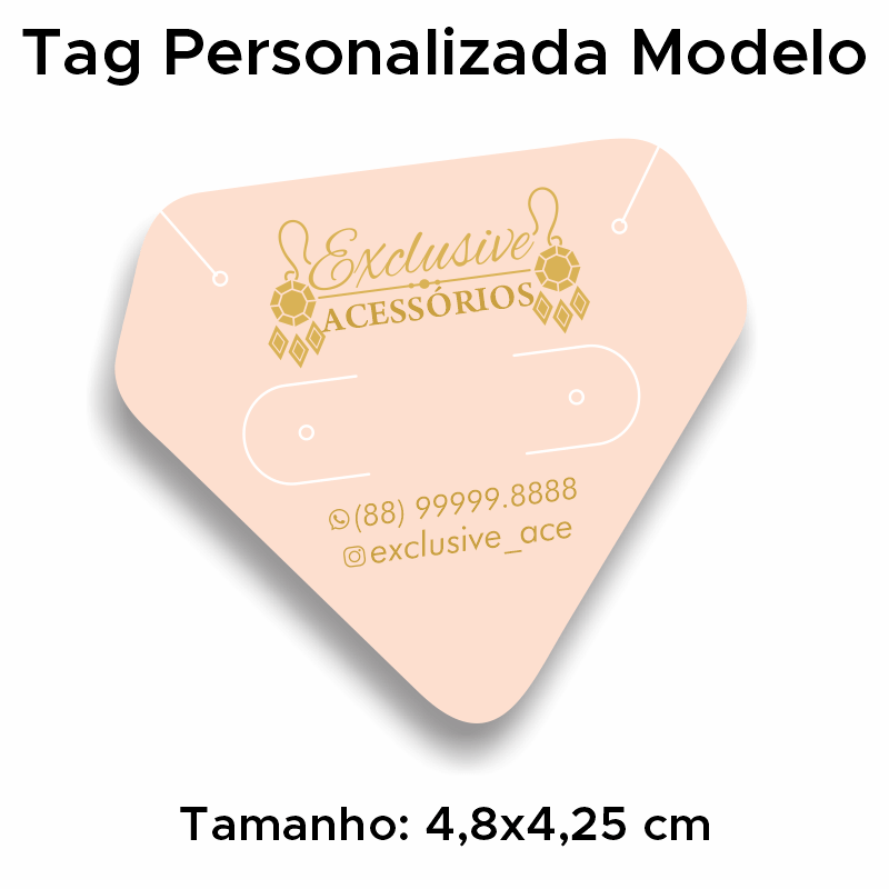 Tag Personalizada Conjunto Brinco e Cordão Diamante