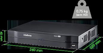 Dimensões e peso do DVR Intelbras MHDX 1008