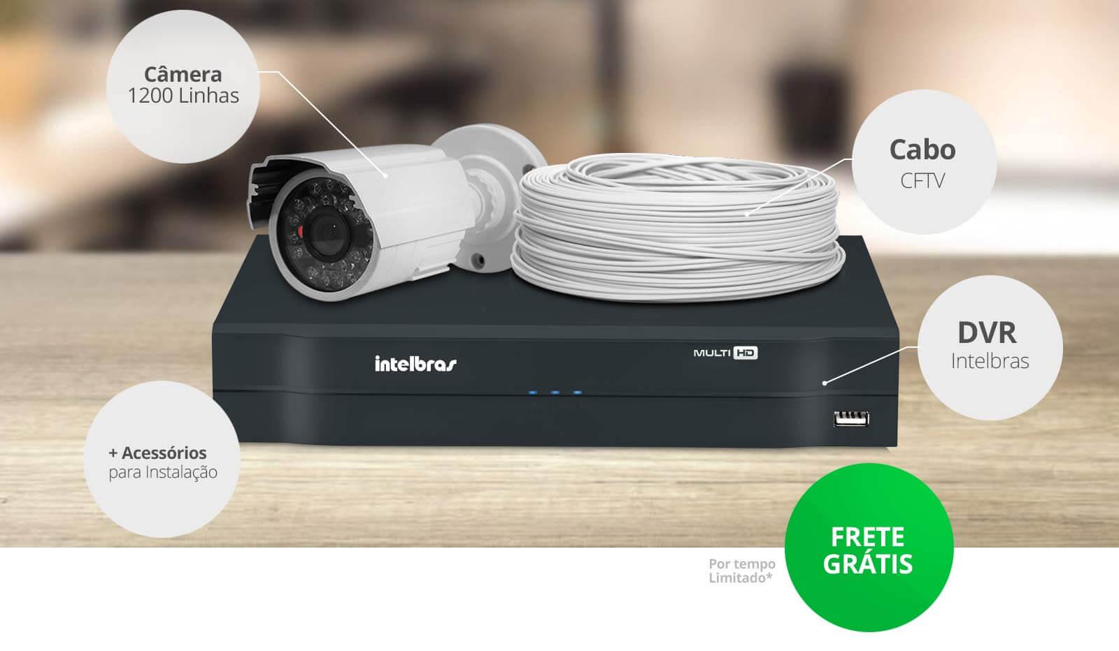 KIT Monitoramento com Câmeras 1200 Linhas + DVR Intelbras + Acessórios