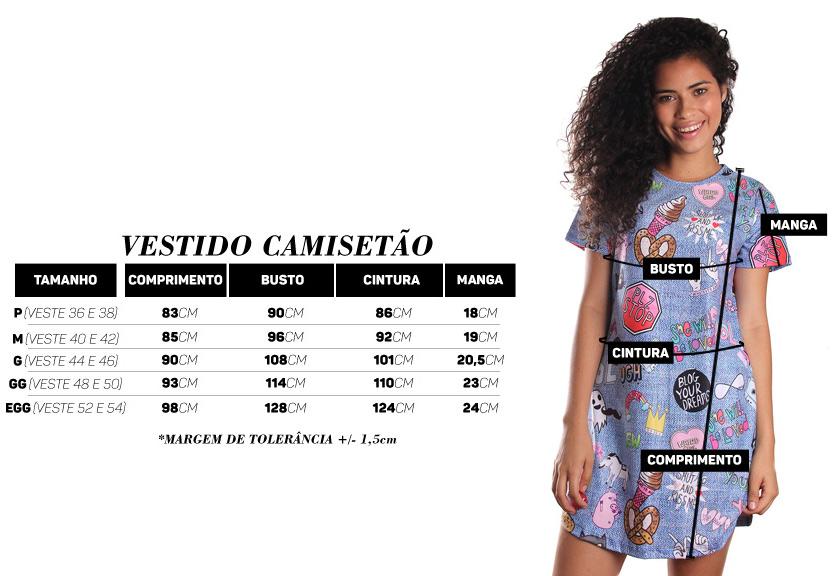 Vestido Camisetão Full Print Tropical Fun