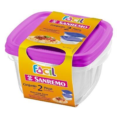 Conjunto 2 Potes Quadrados 125/6 Roxo Sanremo