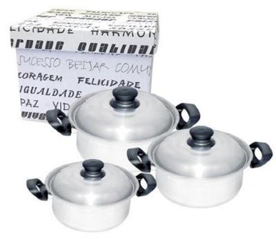 Conjunto de Caçarola De Alumínio Luxo Marmicoc 3 Peças