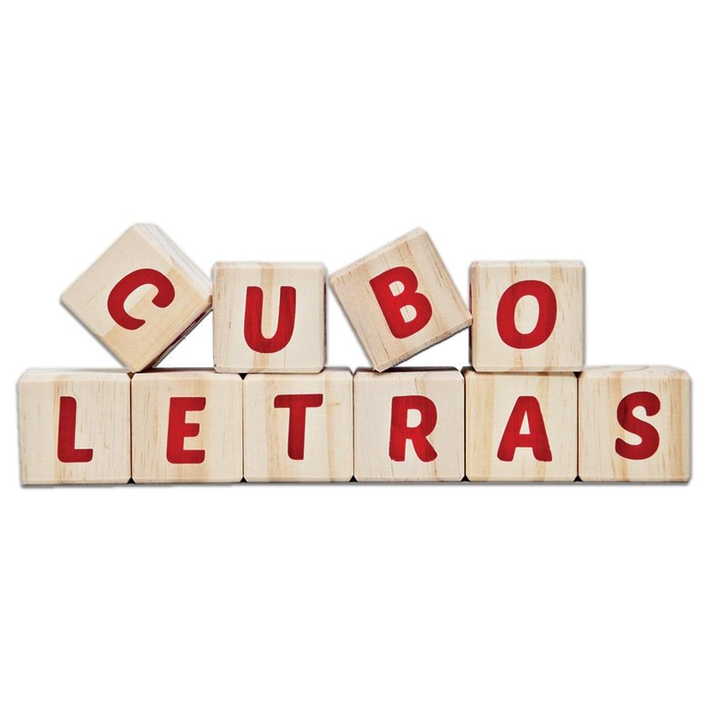Cubo letras de madeira