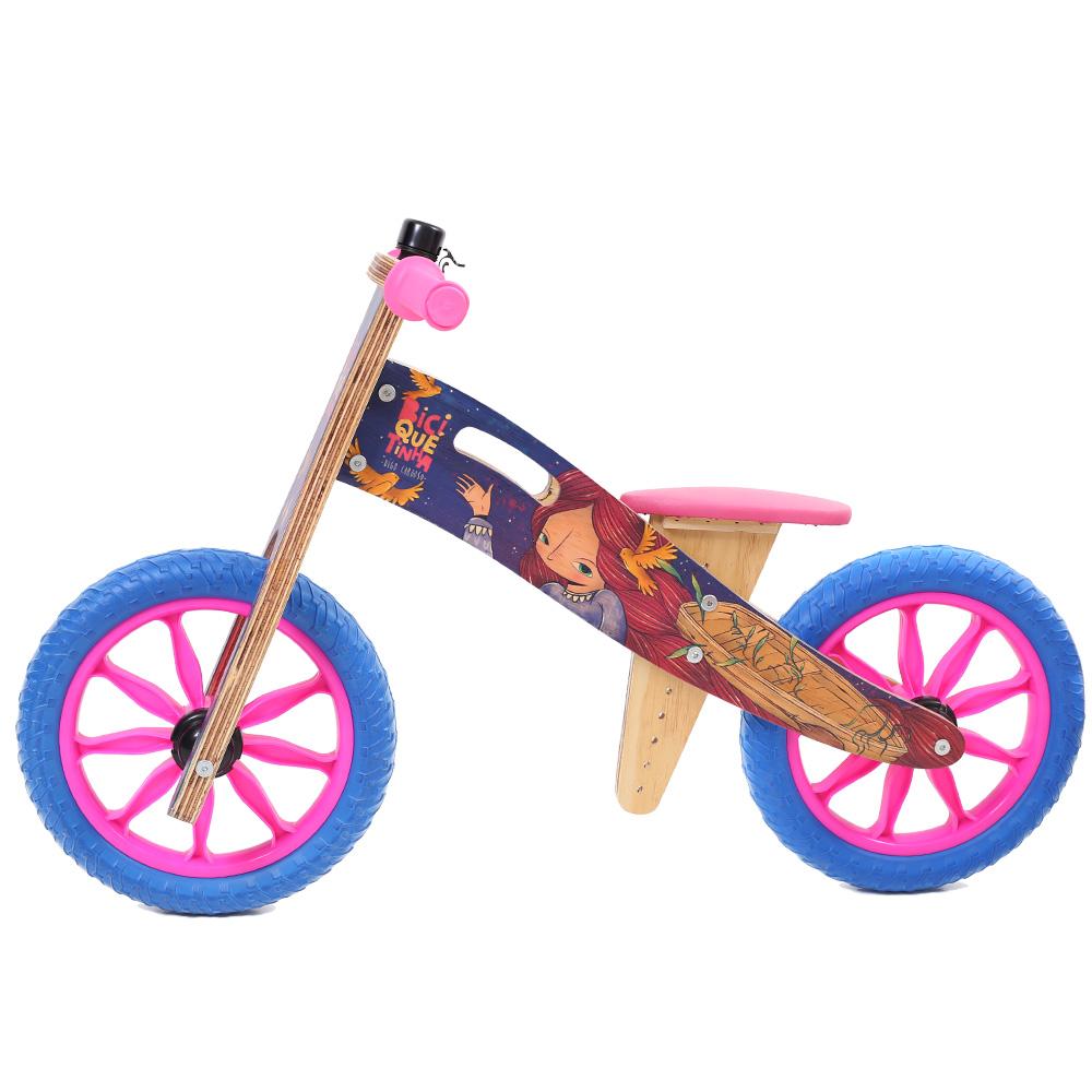 Bicicleta de madeira Azul rosa