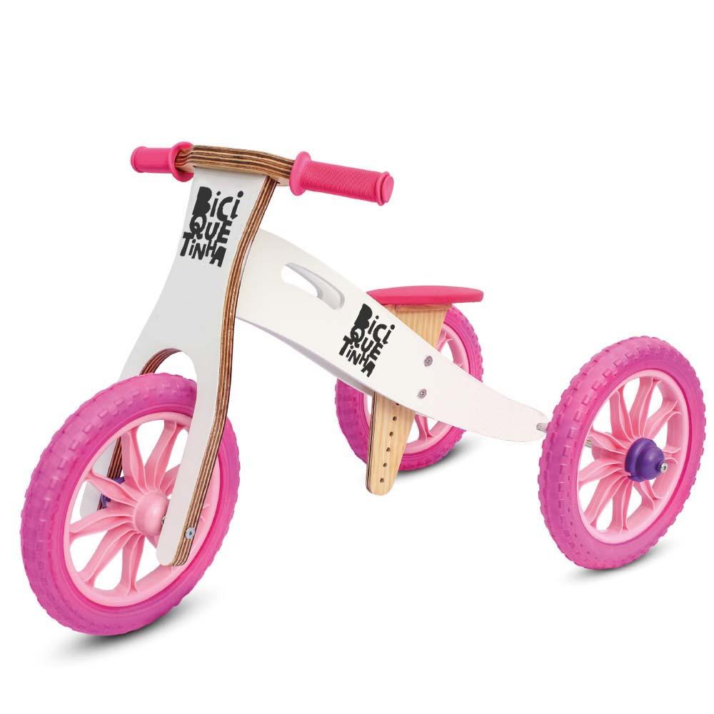 Triciclo rosa branco Biciquetinha