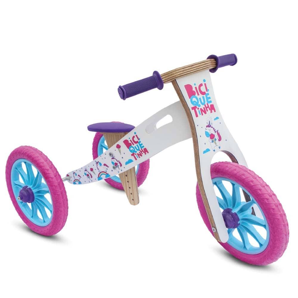 Triciclo 2 em 1 Unicórnio Rosa Azul