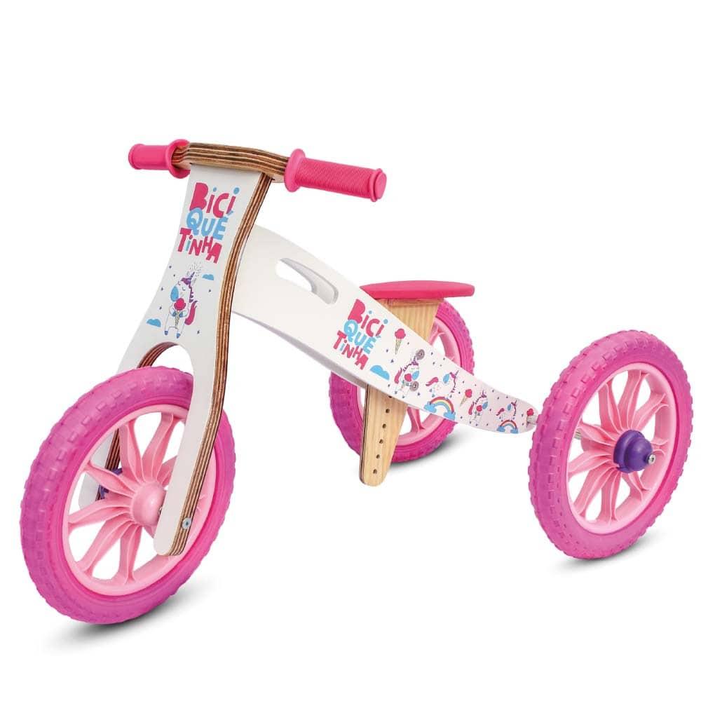 Triciclo unicórnio rosa madeira