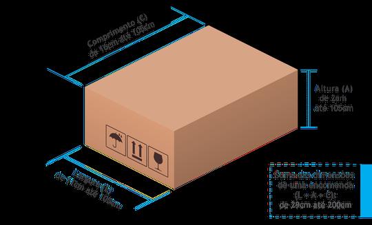 Dimensões para envio através dos correios