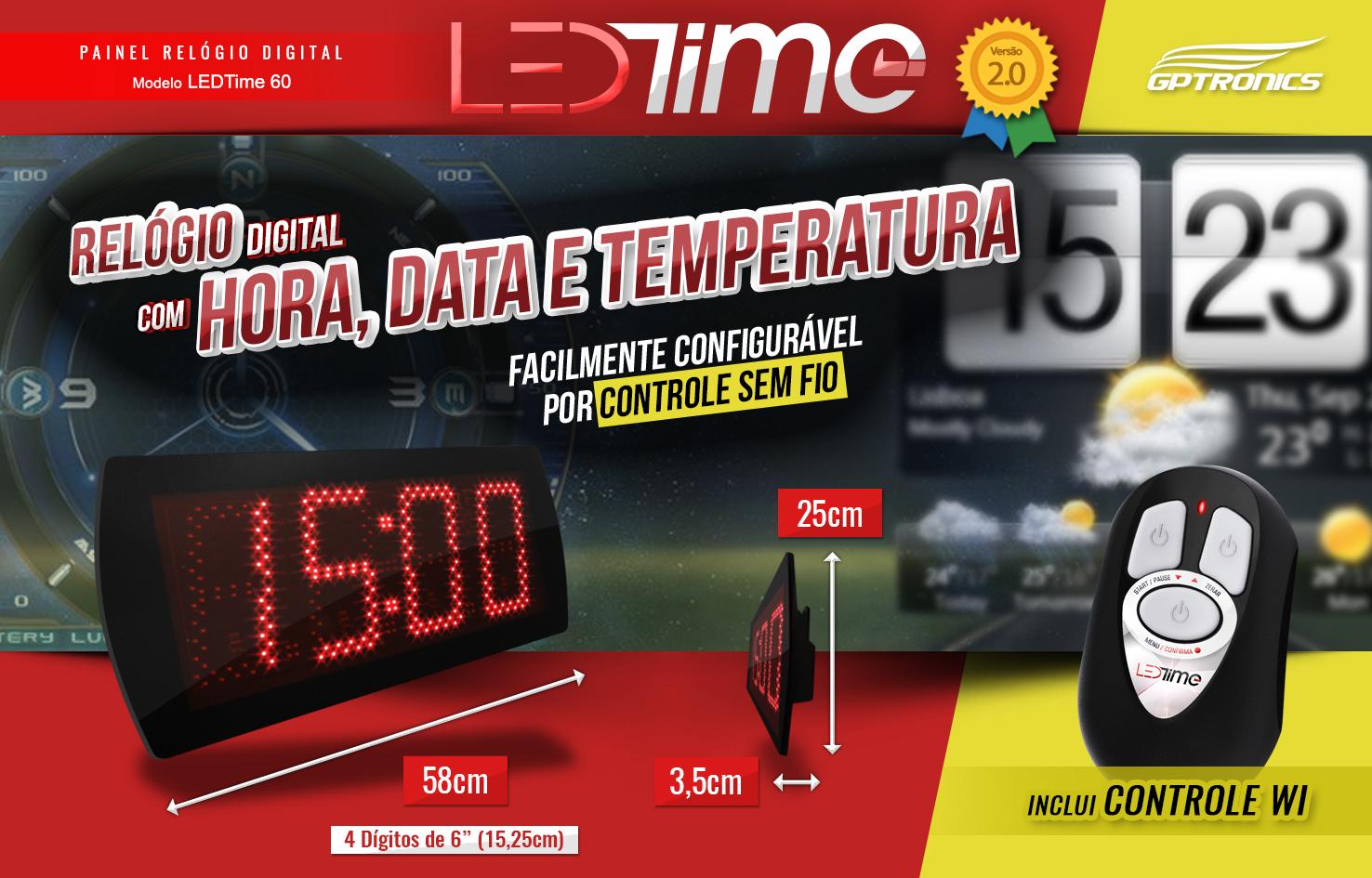c999b69e234 Painel Relógio e Cronômetro Digital Led 58x25 cm