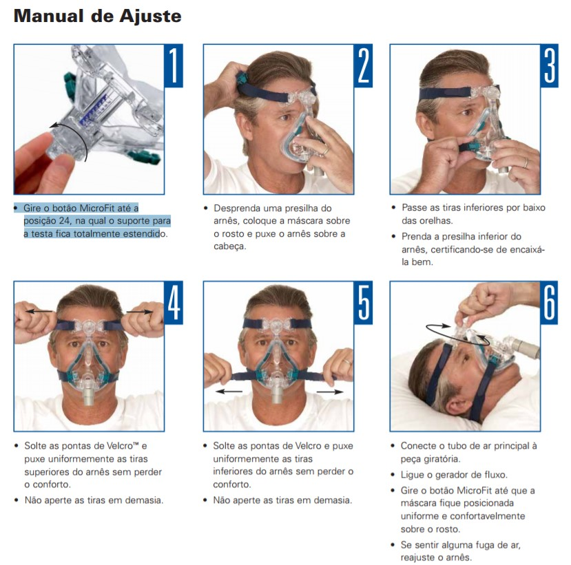 Manual de Ajuste Da Máscara Facial Oronasal Mirage Quattro Resmed CPAP CARE