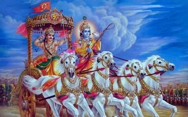 Arjuna e Krishna, do Bhagavad Gita / Crédito: Reprodução