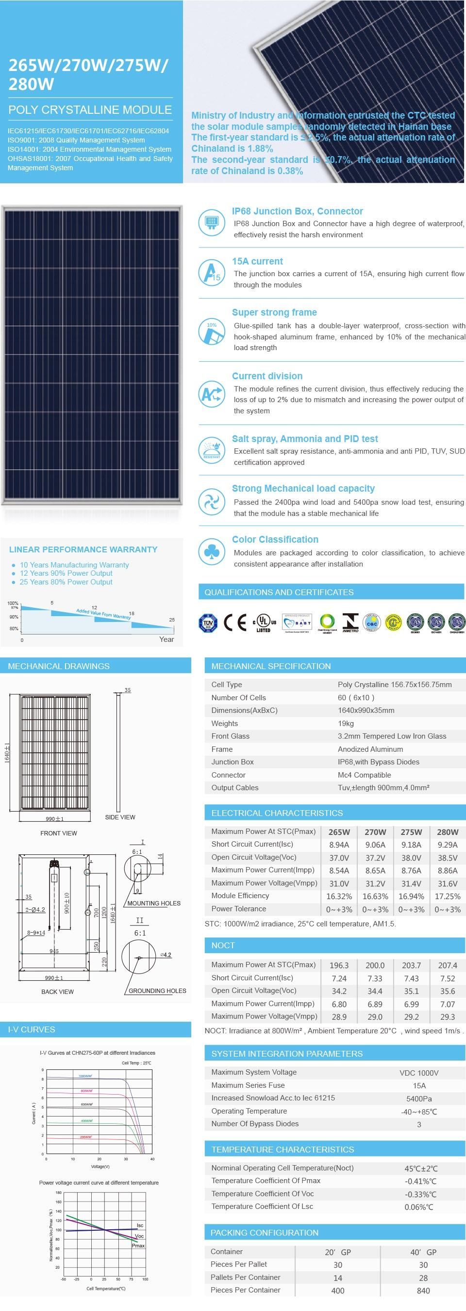 Placa Solar Sun Energy 275 W