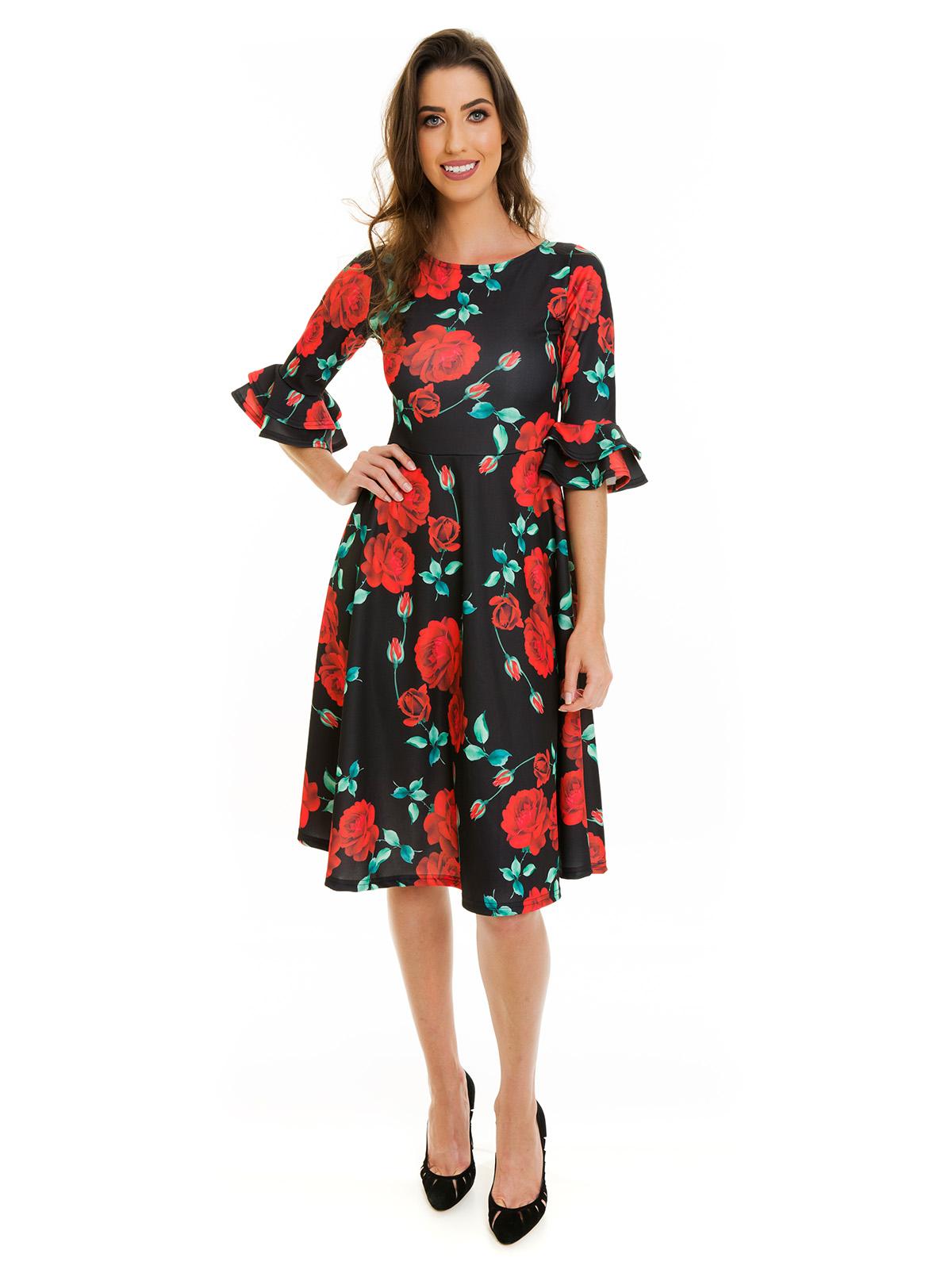 Vestido Godê Midi Estampado Floral