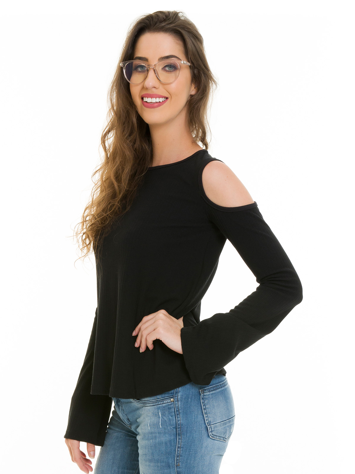Blusa Canelada manga vazada preto