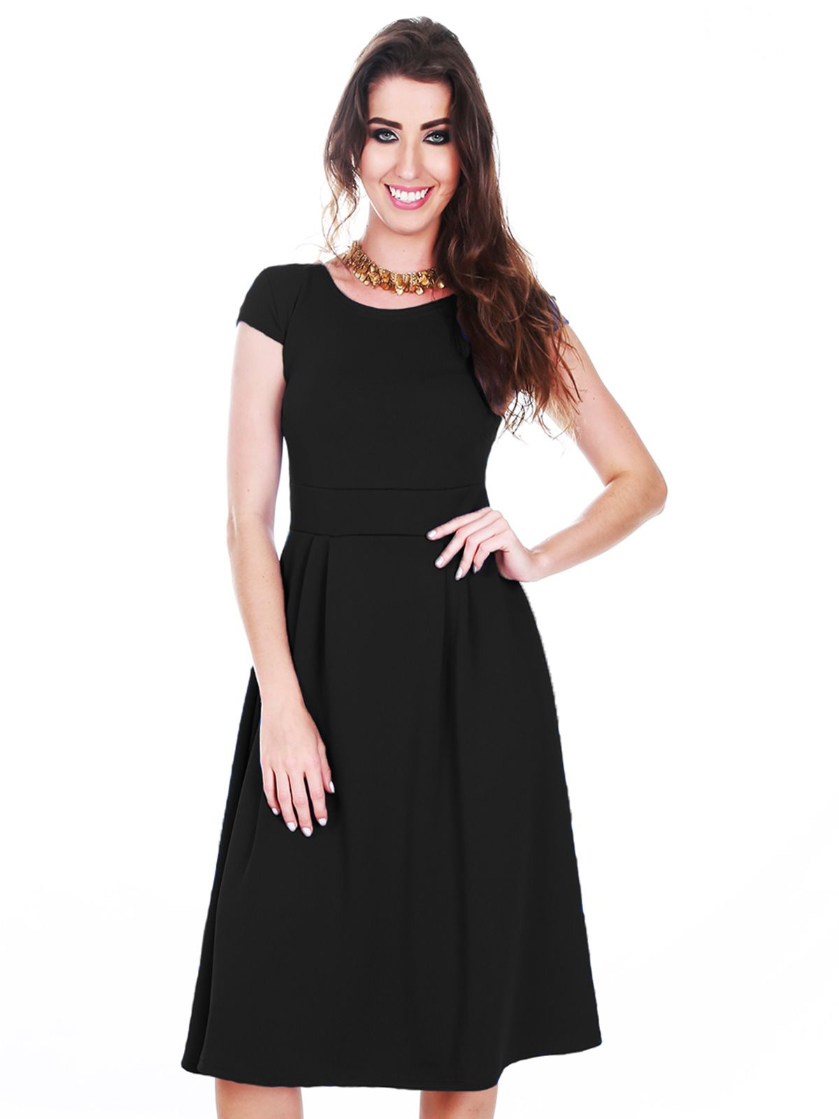Vestido Evasê Midi Preto
