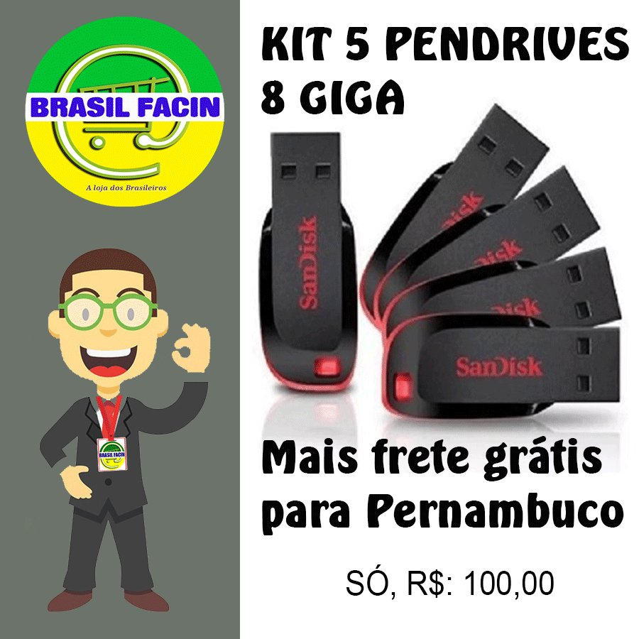 kit pendrives de 8 giga 5 unidades