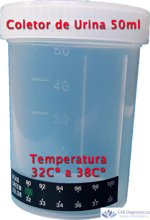 coletor urina com fita termometro
