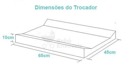 Dimensões do Trocador americano ou Trocador de bebe - 10 centímetros de altura por 65 centímetros de comprimento por 45 centímetros de largura