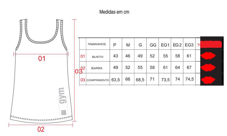 Tabela de tamanhos/medidas