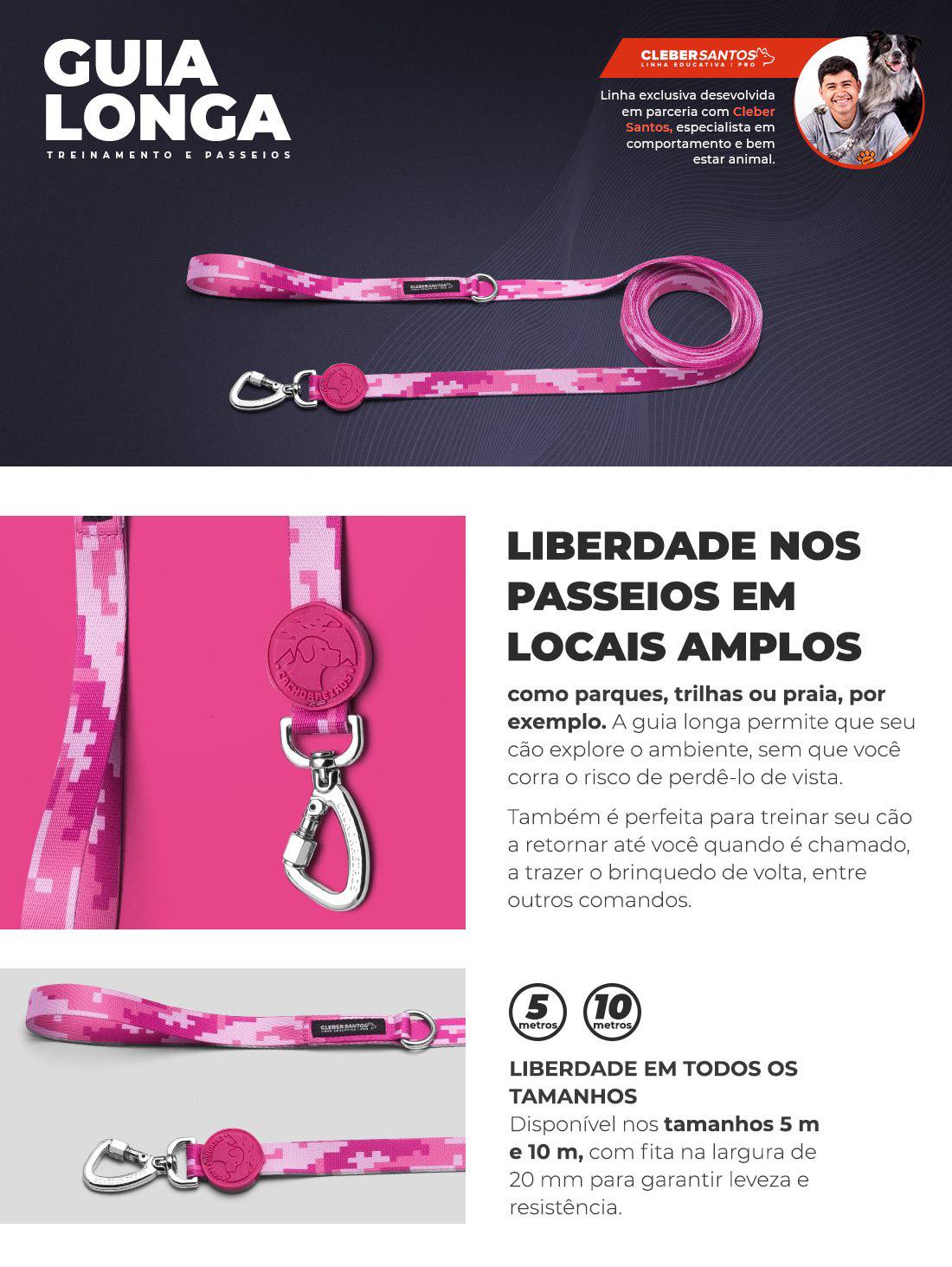 Guia Longa Rosa Cachorreiros - Petite Sofie