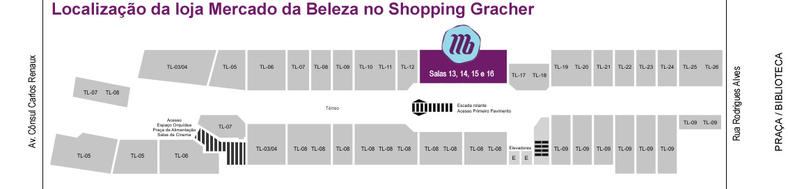 Mapa Mercado da Beleza Shopping Gracher Brusque SC