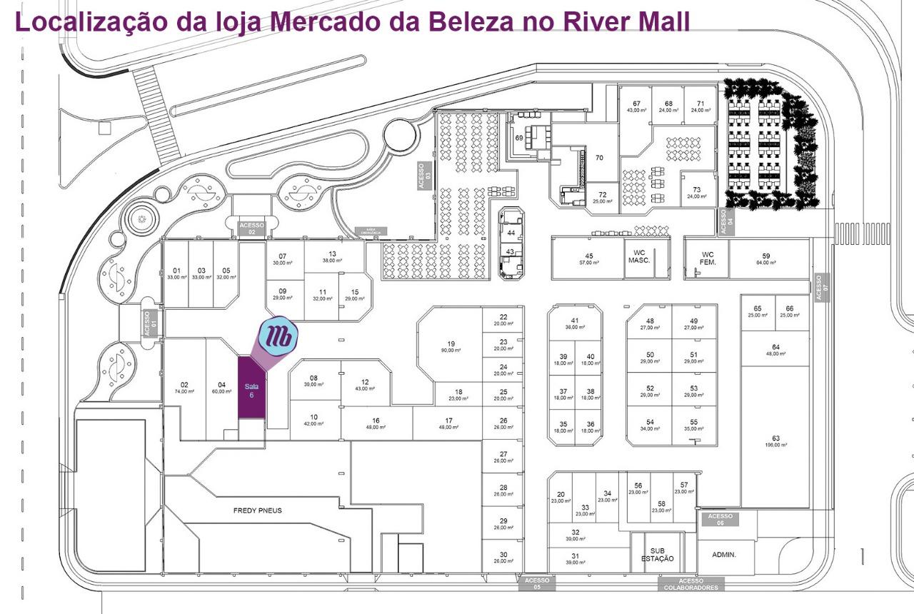 Mapa Mercado da Beleza River Mall Brusque SC