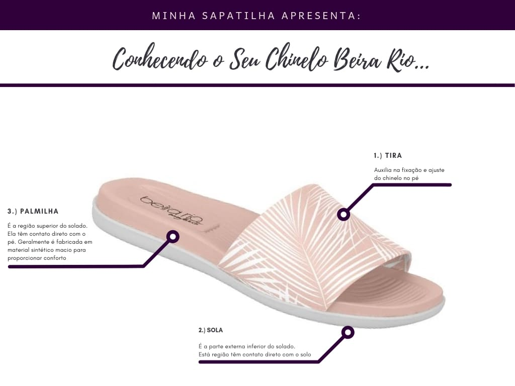 chinelo slide beira rio rosa tropical