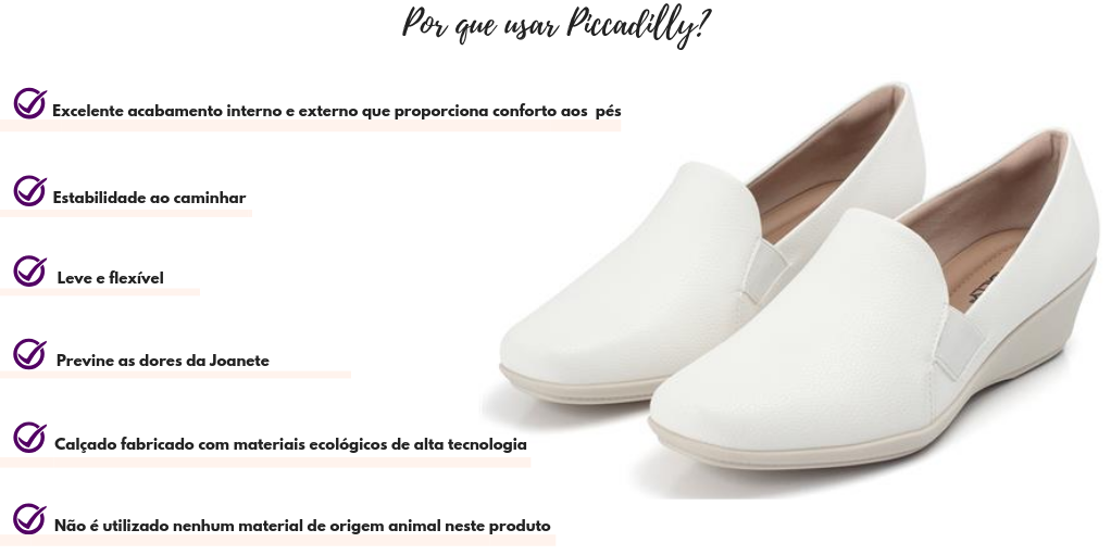 Sapato Anabela Piccadilly Branco