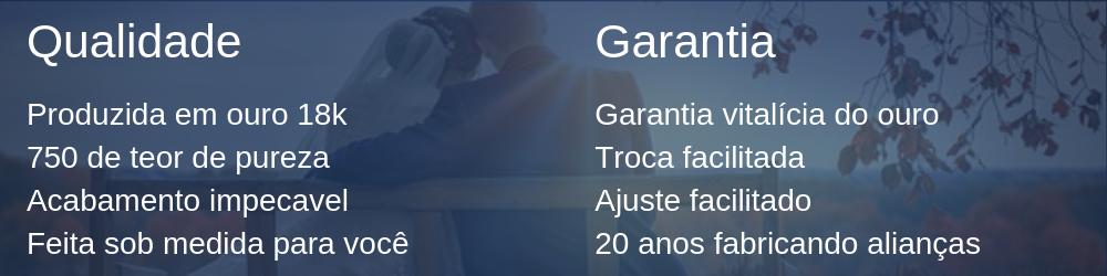Qualidade e Garantia da Aliança de ouro 18k Curitiba
