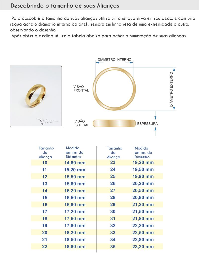 Tabela de Medidas das Alianças Bodas de Ouro Palmas