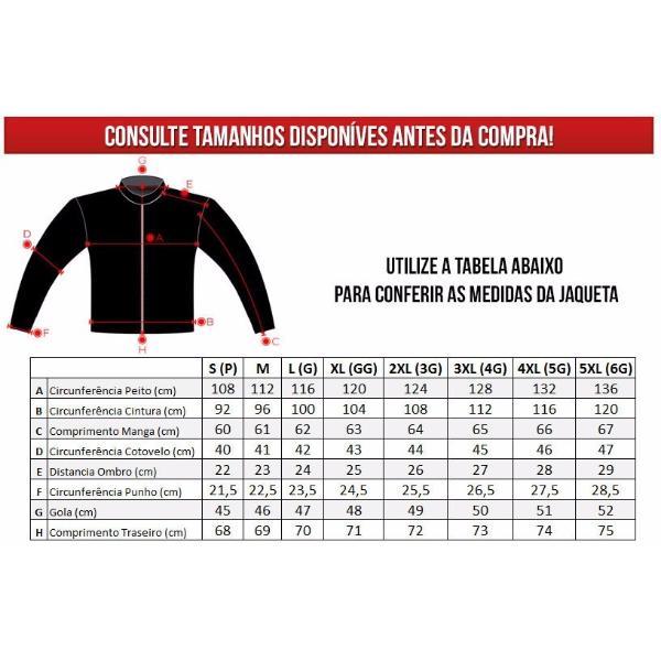 Tabela de tamanhos das Jaquetas Helt