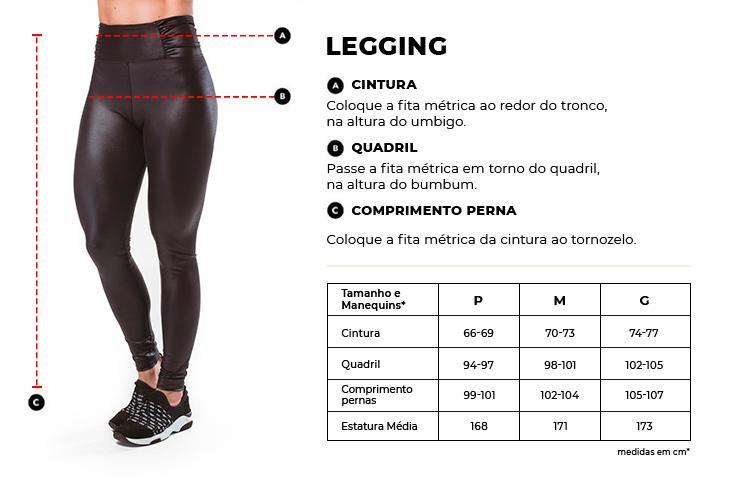 Tabela de Medidas Legging