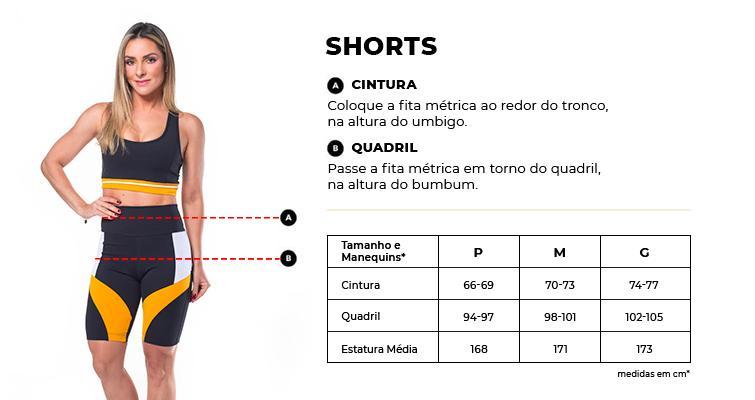 Tabela de Medidas Shorts