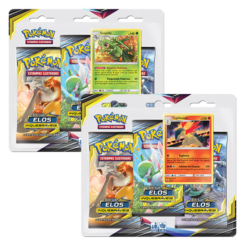 Blister triplo Sceptile e Typhlosion SM10 Elos Inquebráveis