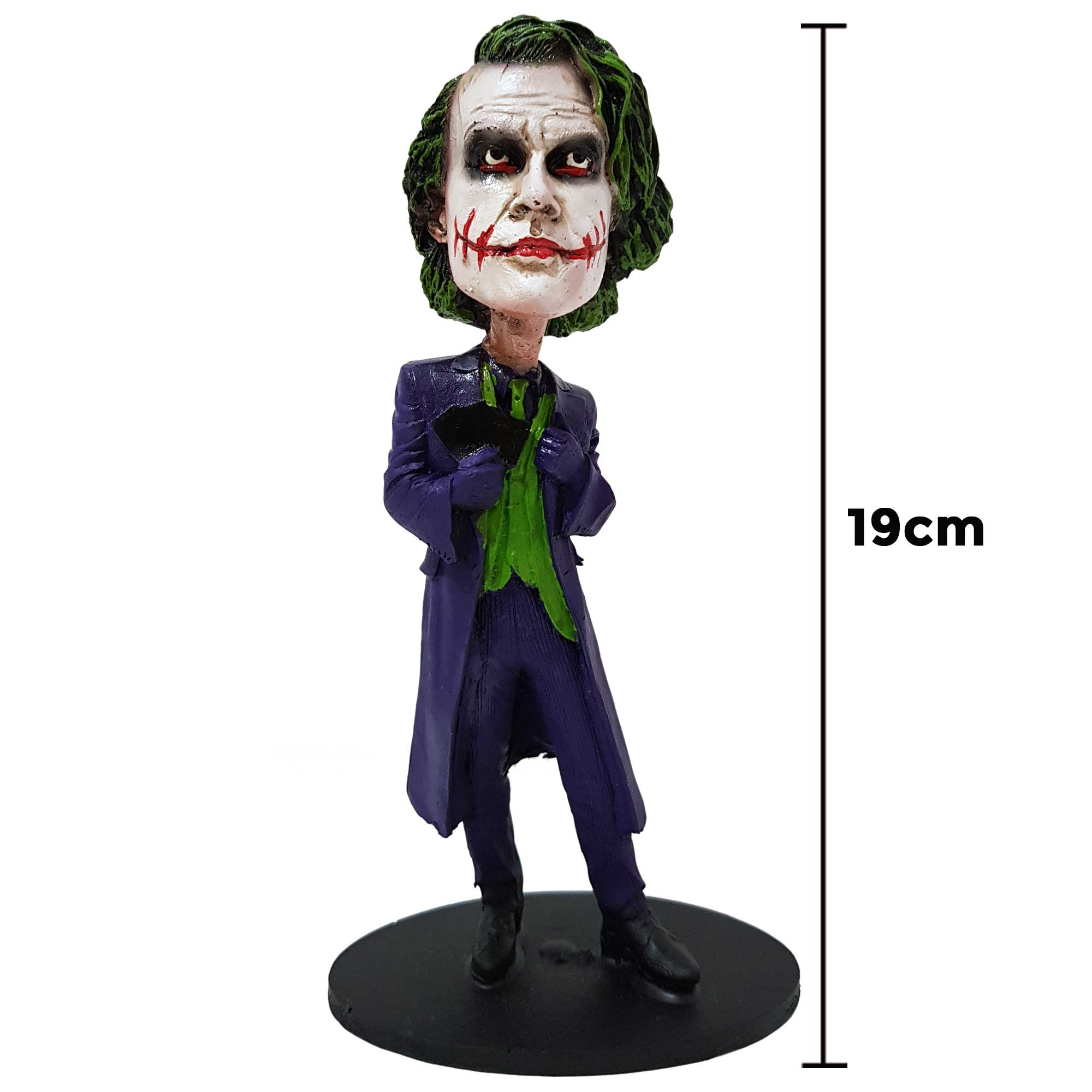 Boneco Coringa Heath Ledger Action Figure Bobble Head 19cm