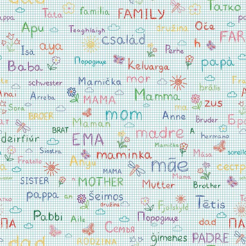 Fabricart Coleção My Family Estampa Escrevendo a Família 50cmX150cm