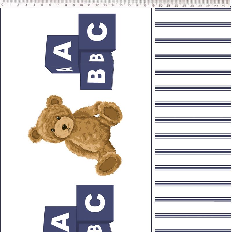 Fernando Maluhy - Coleção Teddy Bear - Barrado De Urso Azul MArinho - 50cm X 150cm