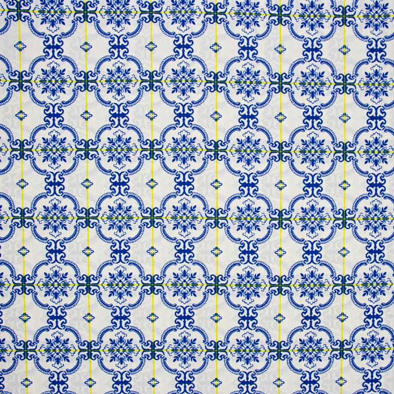 Tecido Gorgurão - Azulejos - 50cm x 140cm