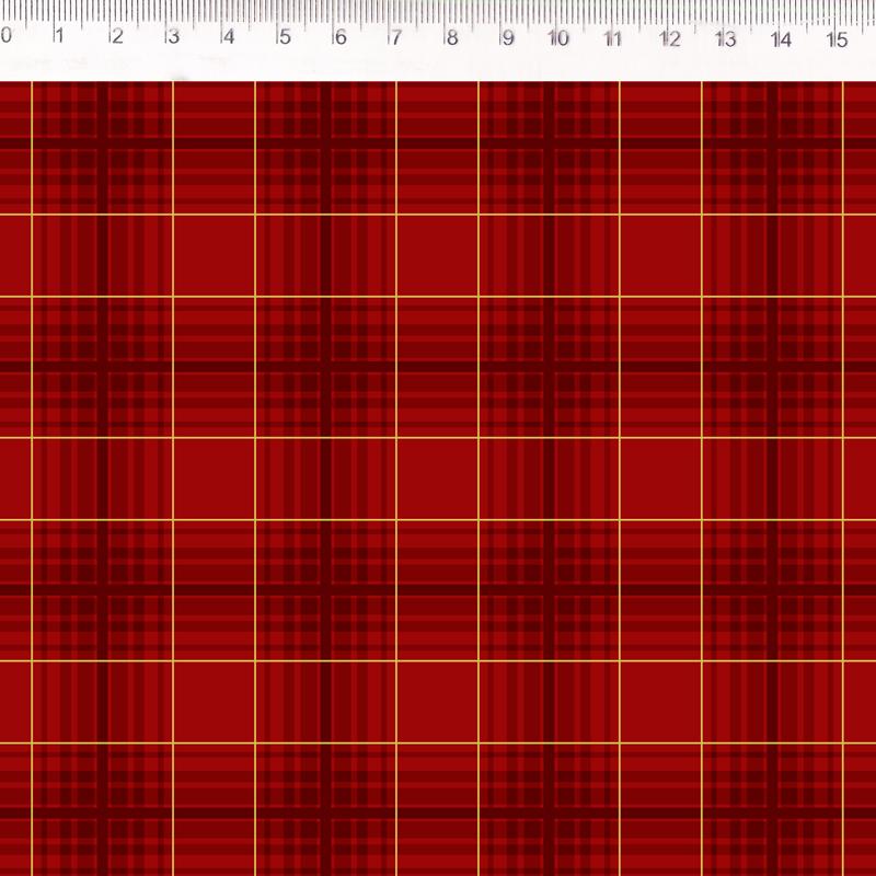 Fernando Maluhy - Coleção Digital Natal - Xadrez Medio Vermelho - 50cm X 150cm