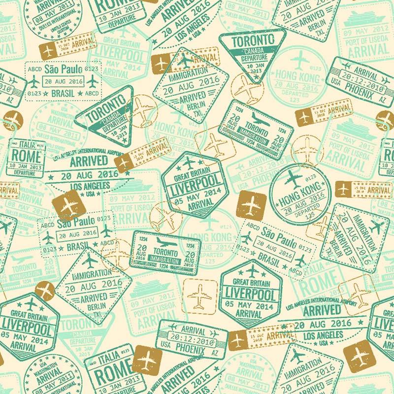 Fabricart Coleção Viagem - Carimbos Verde Pistache - 50cm X150cm