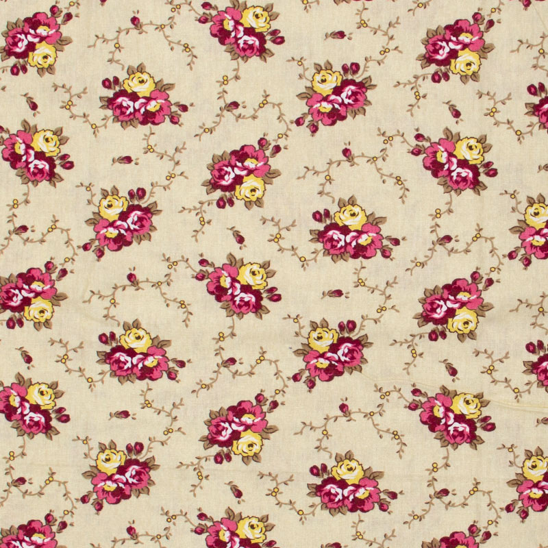 Caldeira - Floral Rosa/Vinho/Amarelo Com Fundo Bege- 50cm x 150cm