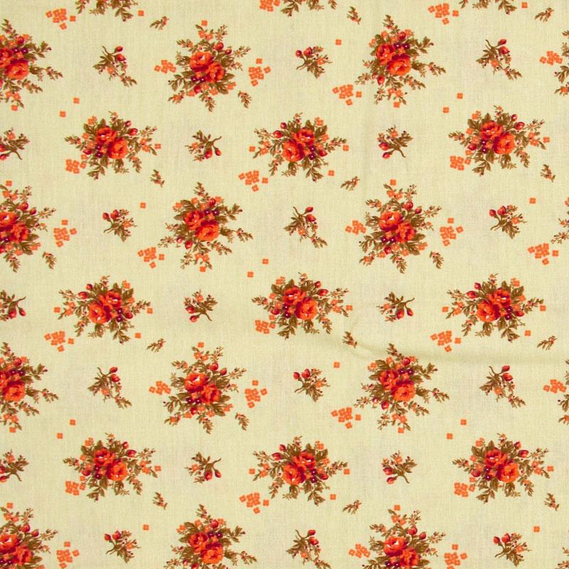 Caldeira - Floral Vermelho Com Fundo Bege - 50cm x 150cm